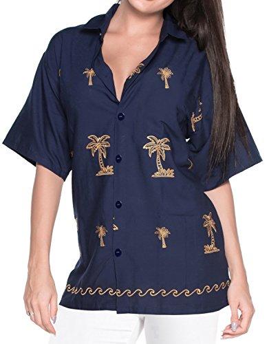 Blusas de la Camisa Hawaiana botón en Forma Relajada por Las Mujeres se Visten de Manga Corta Azul Marino L