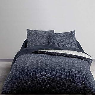 Parure de couette housse et 2 taie d/'oreiller zippée à double 100/% coton Melis