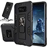 STORM BUY Phone Case for [ Samsung Galaxy S8 ], Heavy Duty Armor Back Cover with [Shock Absorption] Protection, Kickstand Ring Black Bumper Case for Galaxy S8 (5.8-inch-IRBK)