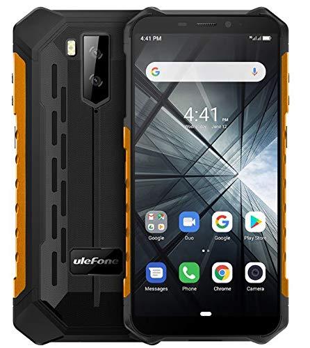 "Teléfono Moviles Baratos Resistentes(2019), Ulefone Armor X3 con Modo Submarino, Android 9.0 5.5 ""IP68 Impermeable Móvil Trabajo, Dual SIM, 2GB + 32GB, 5000mAh Batería, Desbloqueo Facial GPS Naranja"
