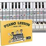 Tableau de notes de piano et clavier avec notes de couleur complète et livre de guide pour les enfants et les débutants ; conçu et imprimé aux États-Unis.