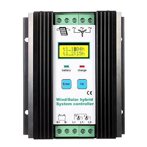Hylotele PWM Laderegler, LCD Wirtschaftlich PWM Wind Solar Hybrid System Controller (600w Wind + 400w Solar) 12 V / 24 V Automatische Identifikation Haushaltsbeleuchtung Straßenlaternen Schutz