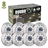 DUUDO Solar Ground Light, Upgraded 10 LED Garden Pathway Outdoor Waterproof Solar Garden Lights, Disk Lights (Cold White, 8 Packs)