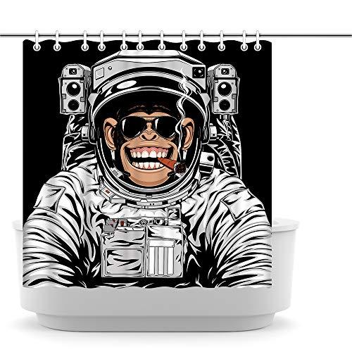 Innopics Duschvorhang mit Tiermotiv, lustiger Affe, Bad-Dekoration, Kinder-Badezimmervorhang, Astronaut, Schimpanse, Raucher, dekorativer Stoff, Badewannenvorhänge 183 x 183 cm