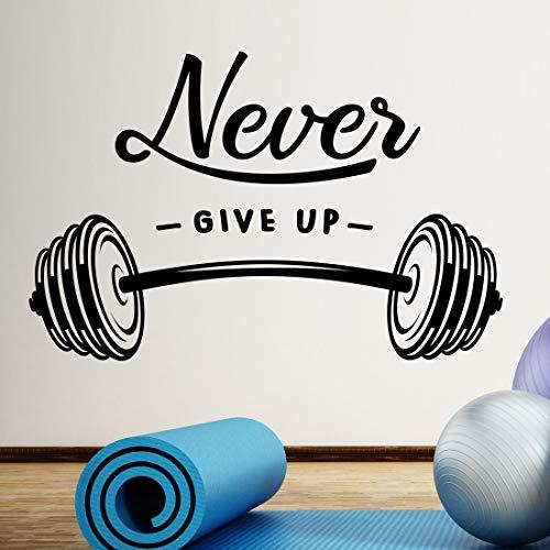 Adhesivo decorativo para pared con texto en inglés 'Never Give up Barbell' para gimnasio en casa, fitness, entrenamiento motivacional, para colgar pesas, para hacer ejercicio, con palabras extraíble