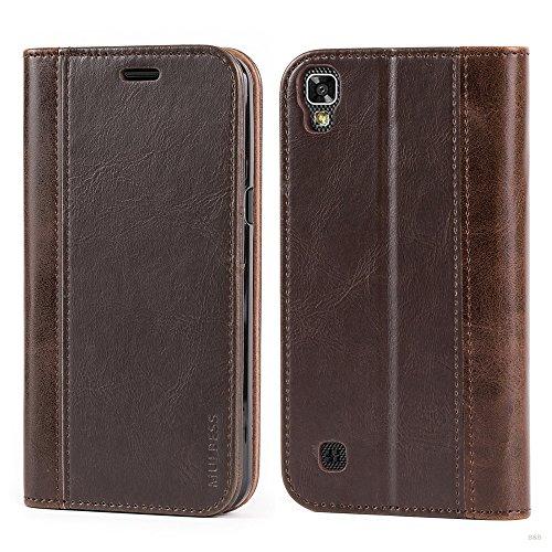 Mulbess Handyhülle für LG X Power Hülle Leder, Wallet Case Leder Flip Schutzhülle für LG X Power Tasche Bookcase, Coffee Braun