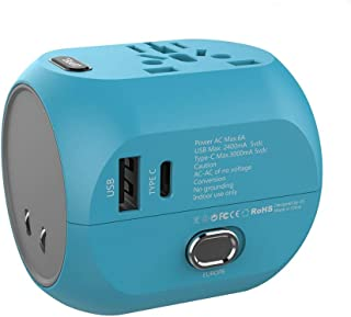 Travel Adapter, UPPEL Universal Power Plug, Internatiol Wall Charger All in One Worldwide AC Socket Converters with USB & Type C Port for US, AU, Asia, EU, UK and Over 150 Countries(Blue)