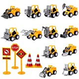 17 Pack Mini Construction Engineering Trucks for Cake Kids Birthday Party Favors Decorations Pull Back Car Toys for Boys