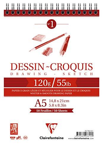 Clairefontaine 96616C Bloc Spiralé en-tête Papier Dessin Croquis - 50 Feuilles Papier Dessin au Grain Très Léger - A5 14,8x21 cm 120g