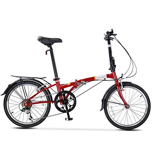 Bicicleta plegable 20 ', bicicleta plegable para adultos 6 velocidades y peso ligero, portátil ligero, marco acero con alto contenido carbono, bicicleta plegable ciudad con estante transporte trasero