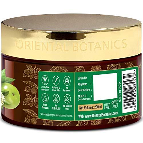 Oriental Botanics Bhringraj & Amla - Maschera per capelli, senza SLS/solfato, parabeni, per capelli lunghi, forti e lisci, rinforza i capelli, favorisce la crescita, 200 ml (confezione da 2)