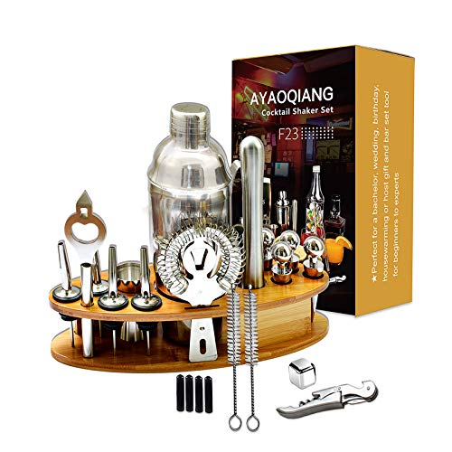 AYAOQIANG Set Cocktail 23 Pezzi, Shaker Cocktail Kit da Barman Professionale in Acciaio Inox, 750ml Shaker, Cocktail Set con di Legno Supporto, per Casa E Bar