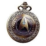 Mens Vintage Watches Retro Star Trek Steampunk Analog Quartz Pocket Watch Chain Watch Necklace Pendant for Dad Son Relogio de bolso-Blue (Coffee)