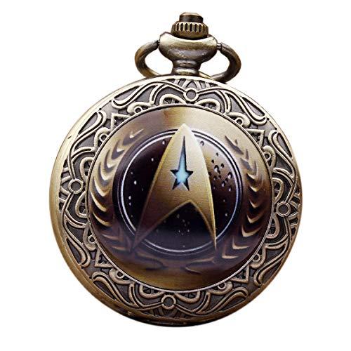 Retro-Star Trek-Taschenuhr, Steampunk, Analog, Quarz, mit Halskette (Kaffeefarben)
