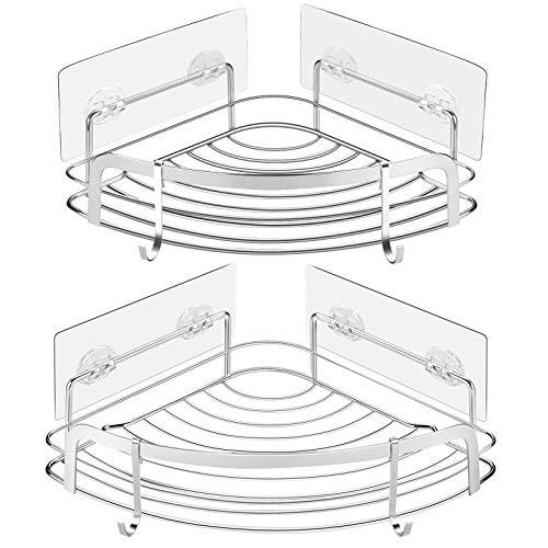 STEUGO SUS304 - Estantería de esquina de ducha con 4 ganchos movibles, organizador de baño de acero inoxidable para baño, 2 unidades para inodoro, dormitorio, cocina