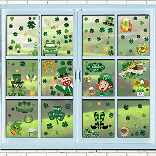 SINTIA 240 PCS 12 Sheets St.Patrick's Day Shamrock Decorations - Clover Window Clings Decal Stickers Party Ornaments Irish Shamrock Happy St. Patrick's Day Party