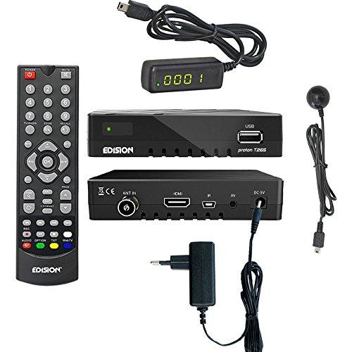 Edision proton T265 Full HD Hybrid DVB-T2 Kabel-Receiver FTA HDTV DVB-C/DVB-T2 H.265 HEVC inkl. externes 4 stelliges Display Infrarot Auge