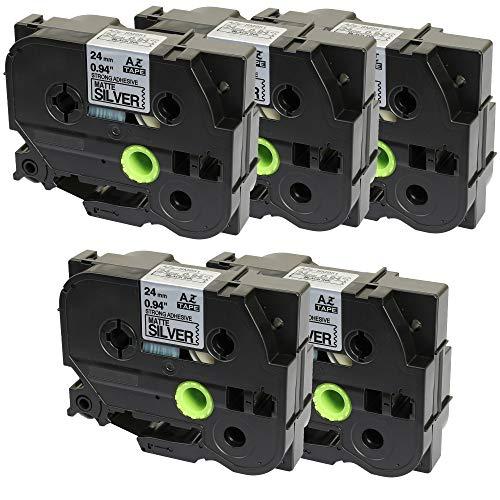 Prestige Cartridge 5 Kassetten TZe-SM951 TZ-SM951 schwarz auf starke silber (matt) 24mm x 8m Schriftband kompatibel für Brother P-Touch PT-2430PC 3600 9600 9700 9800 D800W E300VP E850 H500 P700 P750W
