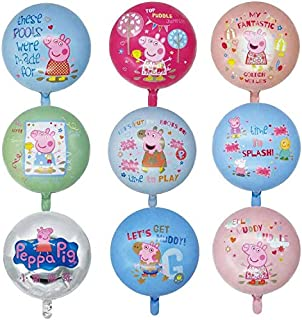 9 Pcs Pink Pig Helium Foil Balloons,Pink Pig Theme Birthday Party Decoration for Kids