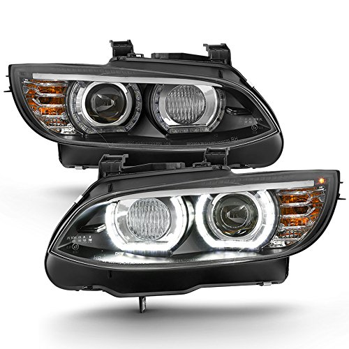ACANII - For HID/Xenon 2007-2010 BMW E92 E93 328i 335i Coupe F32 Style LED 3D Halo Headlights Black Driver & Passenger