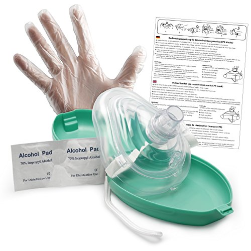 Lunata Reanimationsgesichtsmaske, Laien CPR Erste Hilfe Maske, Notfallbeatmungsmaske, Notfallmaske, Taschenmaske, Mund zu Mund Beatmungsmaske mit Zubehör und Ersthelfer-Anleitung