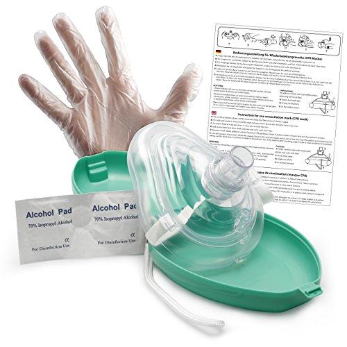 Lunata [Upgrade 2019] Laien CPR Erste Hilfe Maske MIT Sauerstoffanschluss, Notfallbeatmungsmaske, Notfallmaske, Beatmungsmaske mit Zubehör und Ersthelfer-Anleitung
