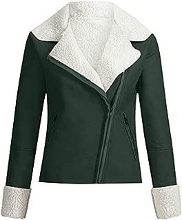 Bravetoshop Women's Winter Coat Lapel Suede Leather Buckle Cool Outwear Faux Lamb Wool Motorcycle Jackets