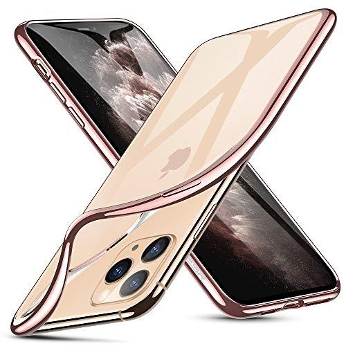 ESR Klar Silikon Entwickelt für iPhone 11 Pro Max Hülle-Dünne klare weiche TPU Schutzhülle-Flexible Handyhülle mit Mikrodot-Muster und Display-Kameraschutz für iPhone 11 Pro Max(2019)-Roségold Rahmen