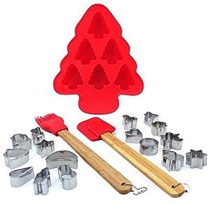 Makeke Box – Weihnachtsbäckerei (Rot) – Silikonform, 16 Mini-Plätzchenausstecher, Pinsel & Spatel aus Silikon