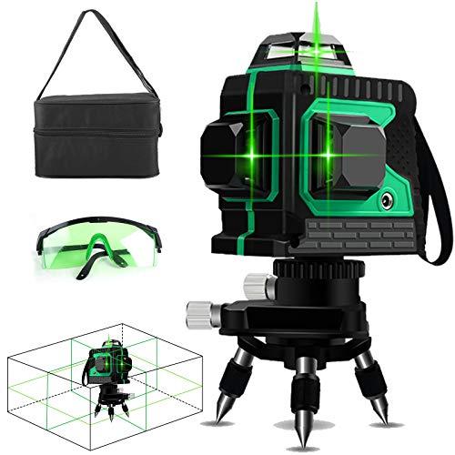 Kreuzlinienlaser Grün 30M, 3 x 360 Professionel Laserpegel selbstausgleichende mit Grün Laserlichtbrille, Selbstnivellierungs Laser Level und IP54 Staub und Wasserschutz inkl (inklusive 2pcs Batterie)