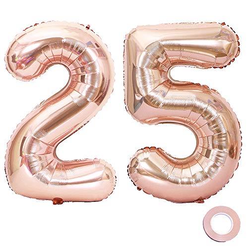 Jurxy Luftballon Zahl 25 Rosegold Geburtstag Folienballon Helium Folie Pinke Luftballons für Geburtstag Jubiläum 40 Zoll - Riesenzahlen #25