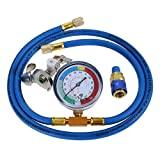 """gohantee R134A Refrigerant Charge Hose Kit, 1/4"""" SAE Port for R12 R22 Air Conditioning, 59' Recharge Hose with 2.75' Gauge, Removable Universal Freon Can Tap, and R134a Low Side Quick Couple for Car"""