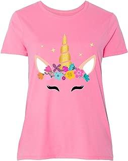 inktastic Unicorn Face, Unicorn Head, Colorful Women's Plus Size T-Shirt