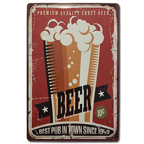 BOEMY Chapa Decorativa Vintage Cerveza [con Relieve y Autocolgable]. Placa de Pared metálica Retro de 20x30 cm. (Beer Roja)