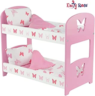 Emily Rose 18 Inch Doll Furniture | Lovely Pink and White Double Bunk Bed, Includes Plush Reversible Bedding | Fits 18