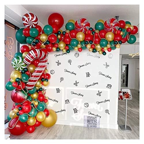 Foil balloon 172pcs Merry Christmas Balloons Garland Red Green DIY Balloon Chain Helium Round Foil Candy Globos balloon (Color