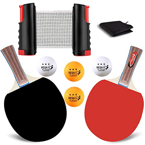 Fitgorush 卓球 ラケット 伸縮ネット 卓球セット ポータブル ピンポン球4個 収納袋付き