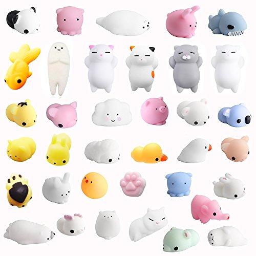 36 Stück Squishies Kawaii Soft Silikon Spielzeug Anti-Stress Squeeze Mini Squishy Tierspielzeug Squishy Slow Rising Stressabbau