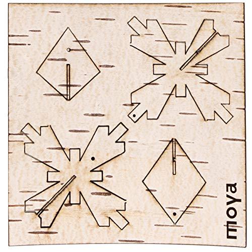 MOYA Christbaumschmuck-Natur, Weihnachts-Deko, Birke Birkenrinde Holz, DIY-Set-Kit zum Basteln mit Gold Faden, Anhänger, Geschenkidee Weihnachten nachhaltig/Karte flach 10x10cm / Schneeflocke