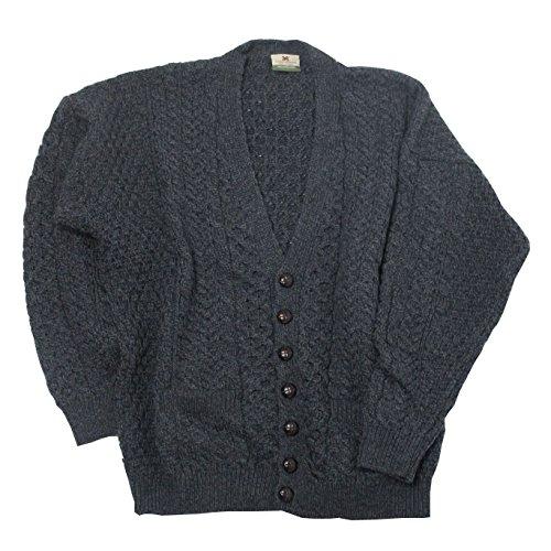 Men's Merino Wool Irish V-Neck Knit Cardigan (Small, Charcoal)