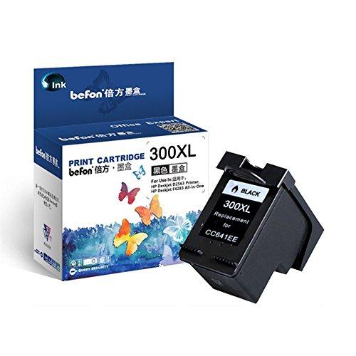 Befon 300XL - Cartuchos de Tinta remanufacturados para Impresora HP 300 XL Color Negro Compatible con HP Deskjet D1660 D2560 D2660 D5560 F2420 F2480 F2492 F4210 (Negro)