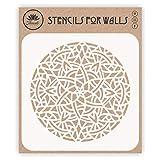Plantilla de mandala árabe, 35,56 x 35,56 cm (L) – Mosaico islámico árabe geométrico plantilla para pintar