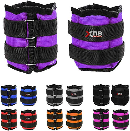 Xn8 Ankle Weights Adjustable Wrist Strap 0.5kg-3kg Leg Weight Sets for Fitness-Jogging-Walking-Exercise-Gymnastics-Aerobics-Gym-Training (Purple, 1.5Kg Pair = (1.5 x 2 = 3Kg))
