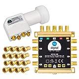 HB-DIGITAL DVB-S / S2 Multiswitch 5/8 + Quattro LNB UHD 414 W bianco + 24 connettori F dorati Multiswitch per 1 SAT, 8 ricevitori incl. Alimentatore di rete MS58-HB HDTV FullHD 4K