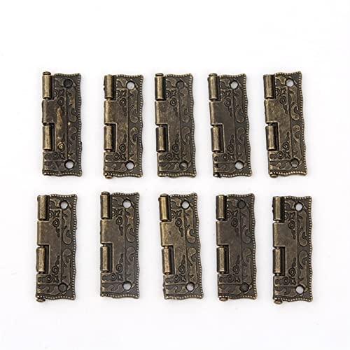 1 0pcs Puerta de la puerta de la puerta del gabinete bisagras for Bricolaje Caja de muebles de bisagras con tornillos 4 orificios bolsa accesorio tono de bronce (Color : 1.5 inch)