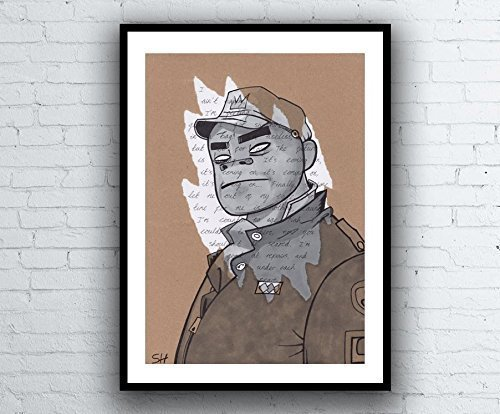 Russel Gorillaz Portrait Drawing with Clint Eastwood Lyrics - Signed Giclée Art Print - A5 A4 A3 sizes