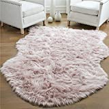 Gorilla Grip Premium Faux Fur Area Rug, 5x7, Fluffy Sheepskin Shag Carpet Accent Rugs for Bedroom and Living Room, Luxury Indoor Home Decor, Bed Side Floor Plush Carpets, Sheepskin, Dusty Rose