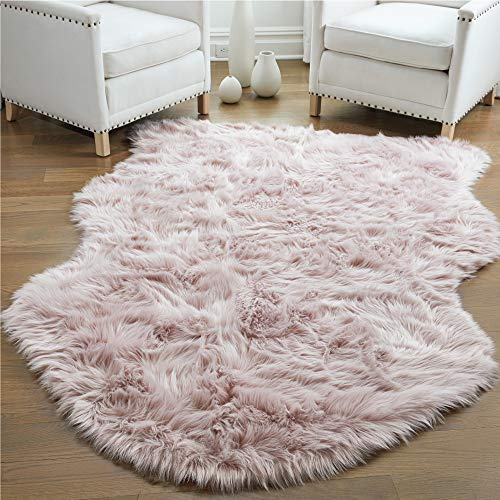 Gorilla Grip Thick Fluffy Faux Fur Washable Rug, Shag Carpet Rugs for Baby Nursery Room, Bedroom, Luxury Home Decor, Soft Floor Plush Carpets, Durable Rubber Backing, Sheepskin, 3x5, Dusty Rose