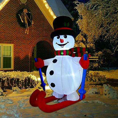 GOOSH 6 Foot Tall Christmas Inflatable Ski Snowman Xmas Decorations with LED Lights Indoor-Outdoor Yard Lawn Decoration - Cute Fun Xmas Holiday Blow Up Party Display