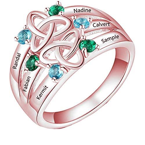 Yanday Anillo de mujerAnillo Familiar Personalizado con 6 Nombres Grabados y Piedra Natal Anillo de Nombre Personalizado para mamá(Oro Rosa 18)